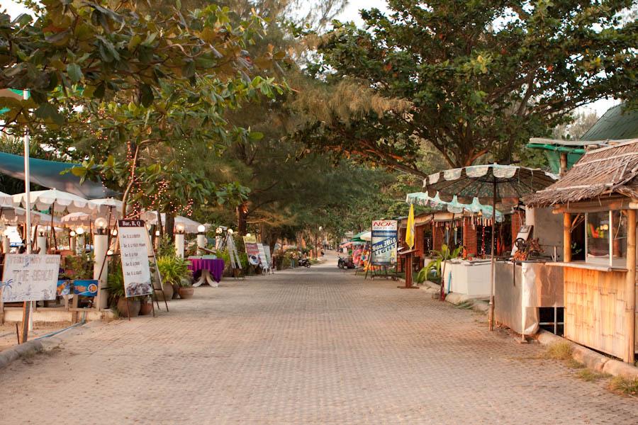 Restaurants along a lane at Surin Beach