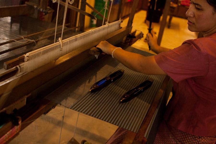 Weaving silk on a loom