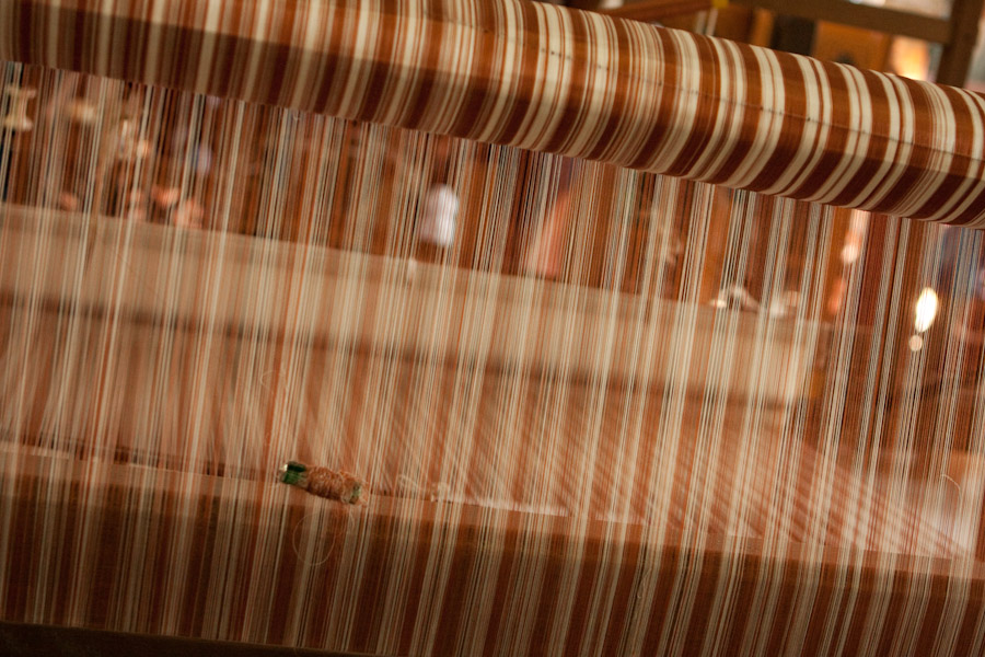 Silk threads on a loom