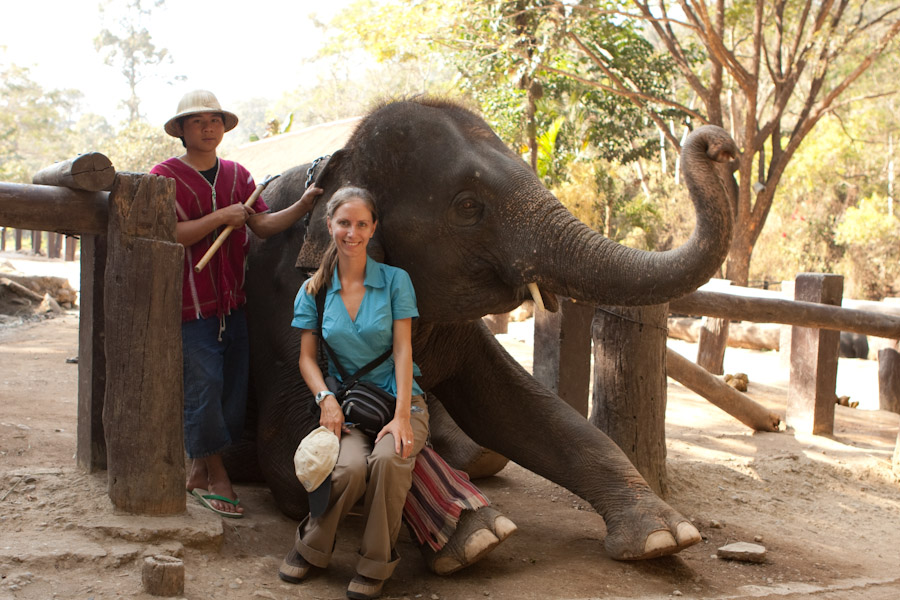 Me posing with an elephant