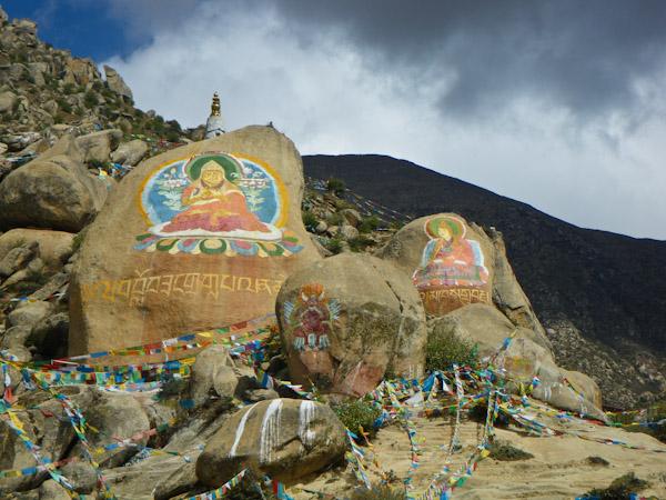 Painted rocks at Drepung Monastery, Lhasa, Tibet