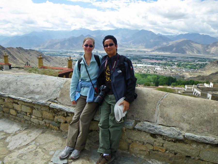 Heidi and George at Drepung Monastery, Lhasa, Tibet