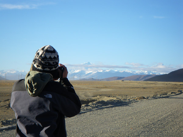 George taking one last photo of Everest