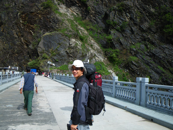 George crossing the Friendship Bridge from Tibet to Nepal