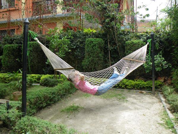 Heidi relaxing at Hotel Ganesh Himal, Kathmandu, Nepal