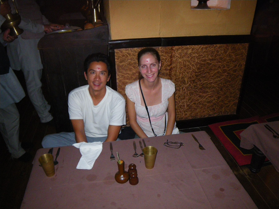George and Heidi Enjoying Dinner and a Show in Nepal