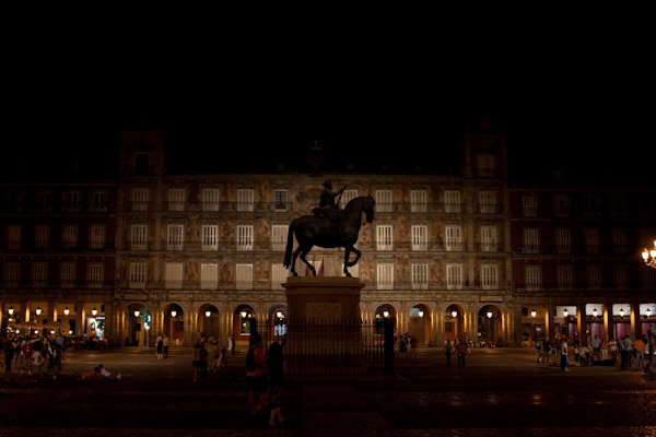Statue in Plaza Mayor at Night