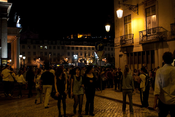 The streets of Lisbon at night