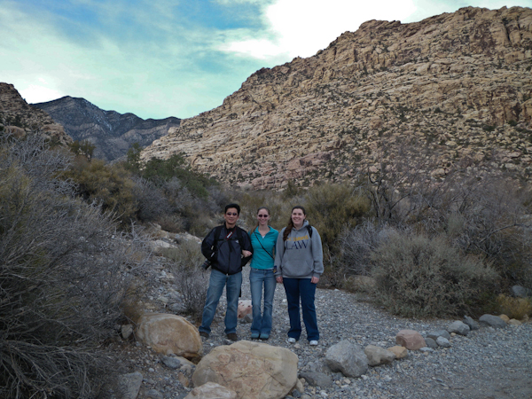 George, Heidi, and Sarah hiking at Red Rock Canyon