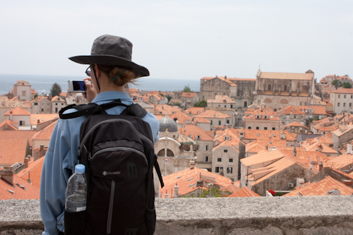 Heidi wearing the PacSafe VentureSafe 25L in Dubrovnik, Croatia