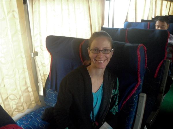 Heidi on the Mandalar Minn Bus from Yangon to Mandalay