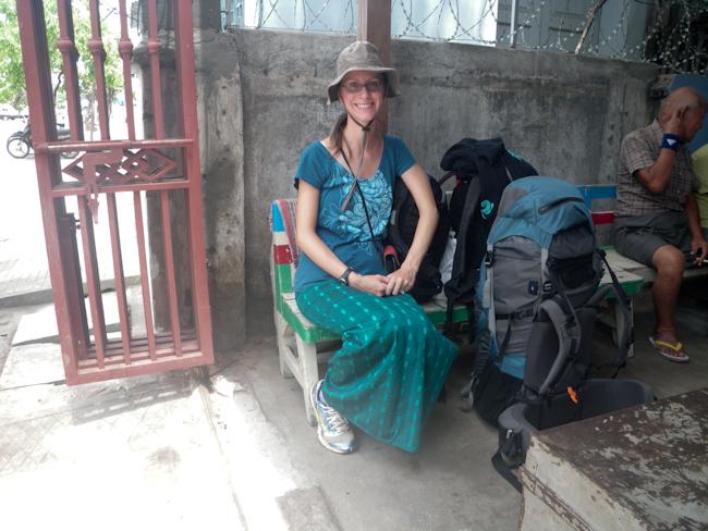 Heidi Waiting for the Ferry at Dothawaddi Ticketing Office in Mandalay
