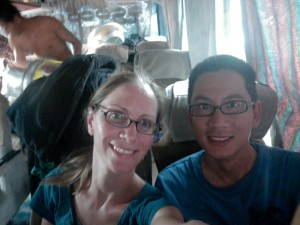 Heidi and George on the Bus from Mandalay to Hsipaw