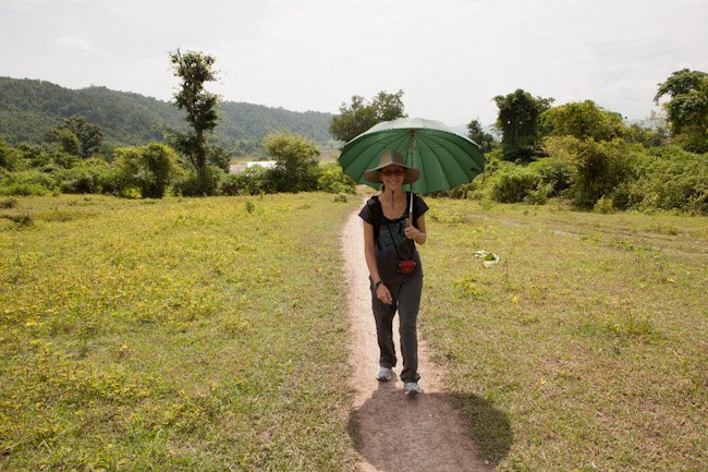 Using the Umbrella as a Parasol on the Hike