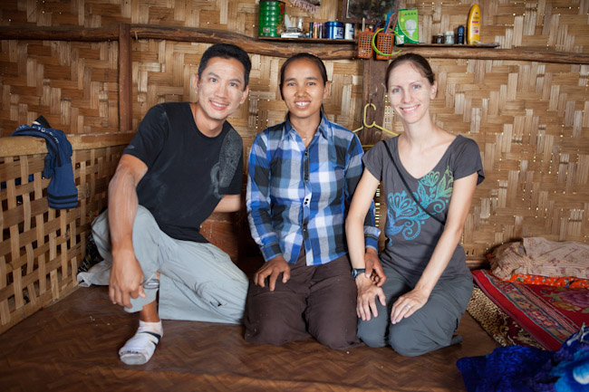 George and I with our Hostess Wearing Thanaka- Traditional Burmese Make Up