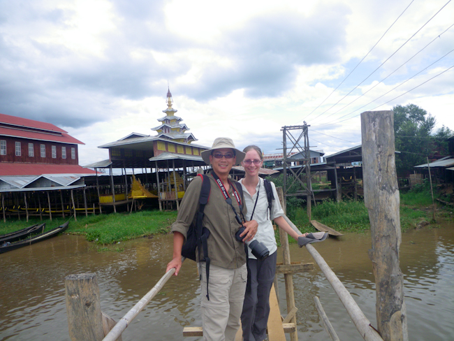 George and Heidi Crossing the Bridge to Shwe Inn Thein Paya