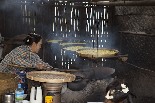 Cooking Yellow Split Peas in Woks in Kaung Daing Village