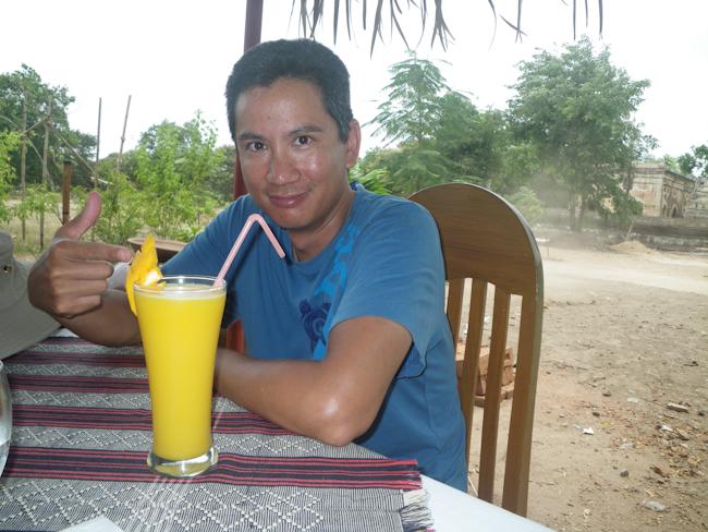 George Enjoying Fresh Mango Juice at Star Beans Restaurant, Old Bagan