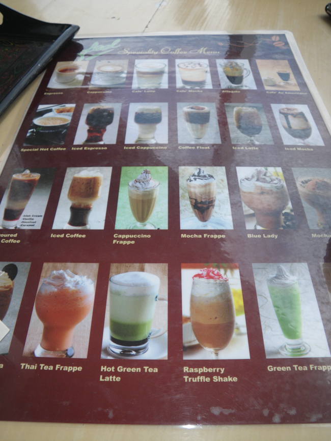 Coffee Menu at the Feel Express Rest Stop on the way from Bagan to Bago