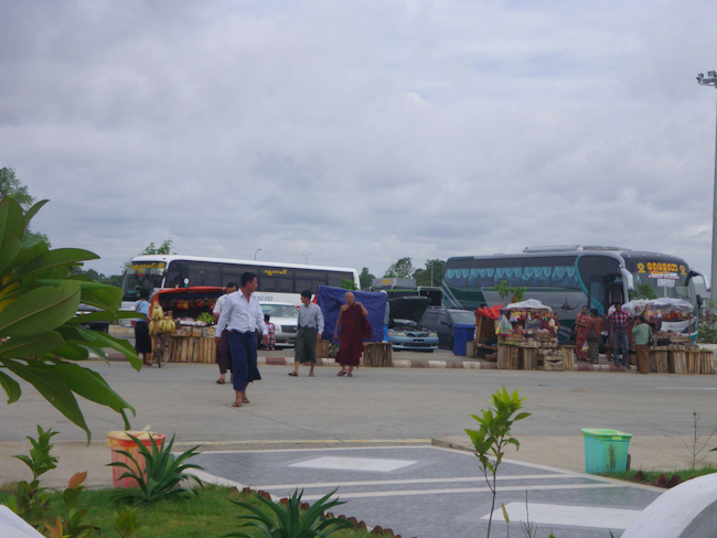 Buses at a Rest Stop on the Way to Bago