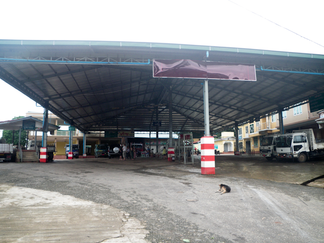 Station in Kinpun for Trucks Headed to the Golden Rock