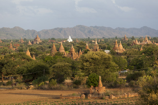 View of the Temples of Bagan in the Evening Light