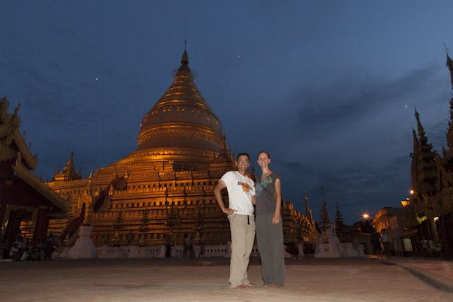George and Heidi at Shwe Zigon Paya, Bagan
