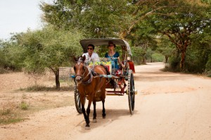 Heidi and Minthu Riding in the Horse Cart, Bagan