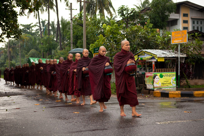 Monks Collecting Alms in Bago