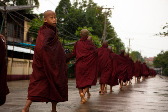 Monks Collecting Alms in the Morning in Bago, Myanmar