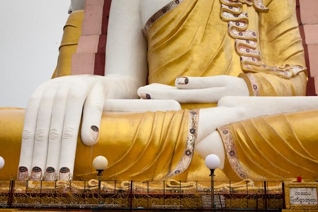 Decorated Nails on one of the Buddha Images at Kyaik Pun Paya