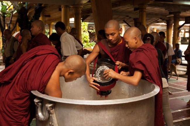 Scooping Rice at Kha Khat Wain Kyaung Monastery