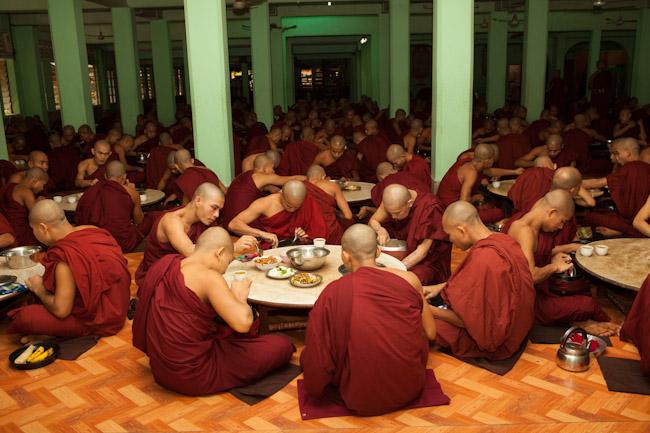 Monks Eating at Kha Khat Wain Kyaung Monastery