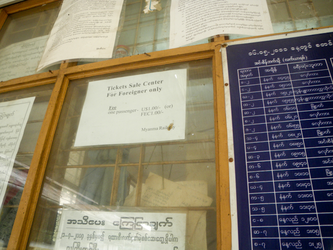 Ticket Counter for the Yangon Cirle Line at the Yangon Train Station