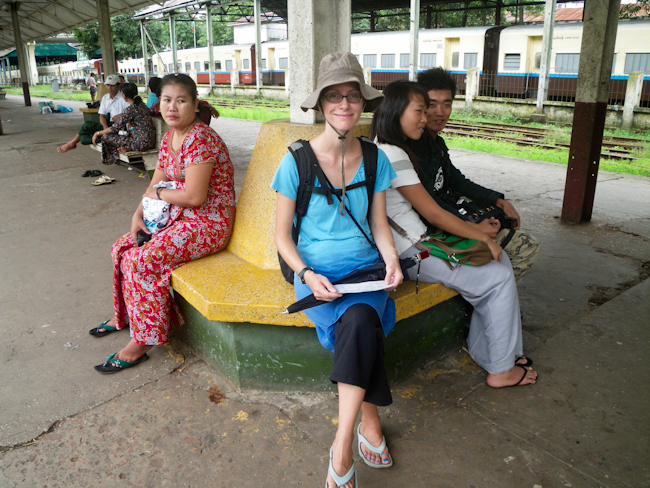 Heidi Waiting for the Yangon Cirle Line Train