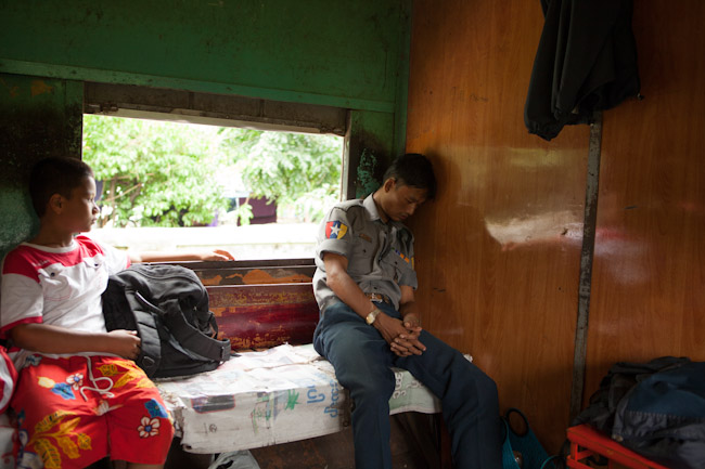 Guard Sleeping on the Yangon Circle Line Train