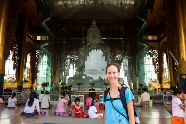 Heidi next to the Kyauk Daw Kyi Marble Buddha