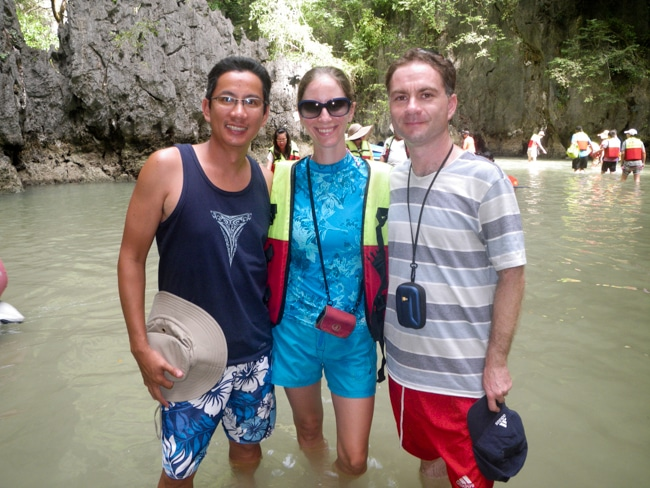 George, Heidi, and Hamid in a Hong in Phang Nga Bay