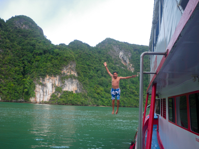 George Jumping off the Boat in Phang Nga Bay