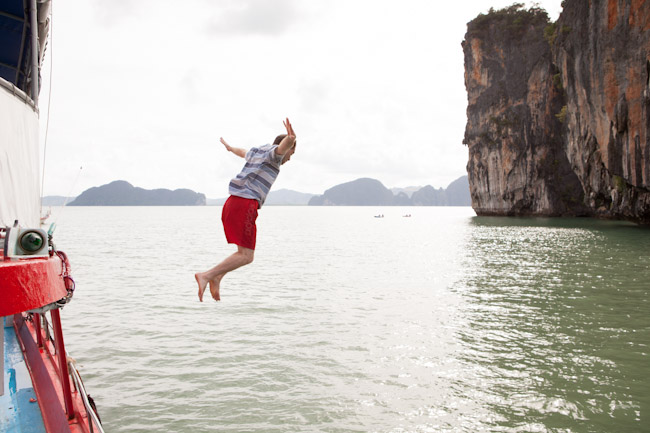 Hamid Jumping off the Boat in Phang Nga Bay