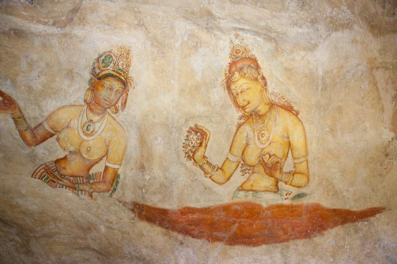 Ancient Paintings on the Side of Sigiriya Rock
