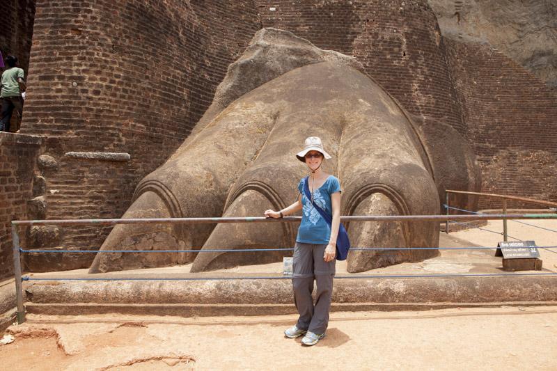 Heidi Next to a Lion's Paw at Sigiriya